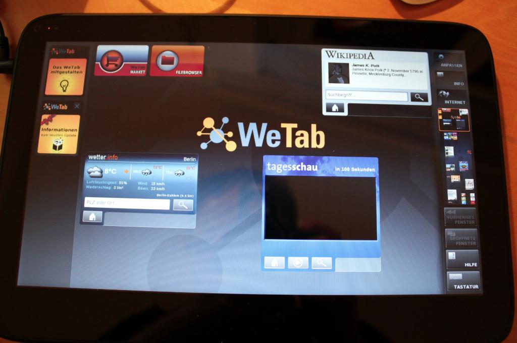WeTab - 1. mal gestartet
