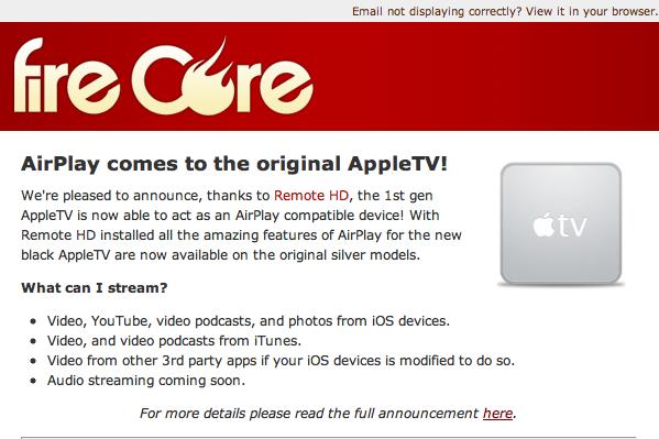 Airplay Update für AppleTV 1. Gen.