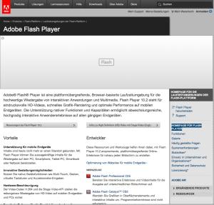 Adobe Flash Seite