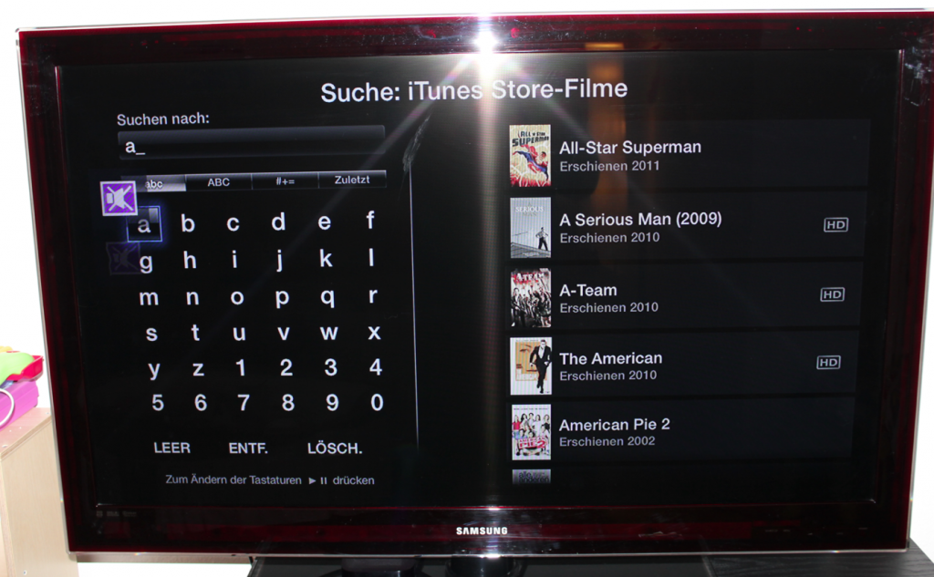 Optimierte Bildschirmtastatur
