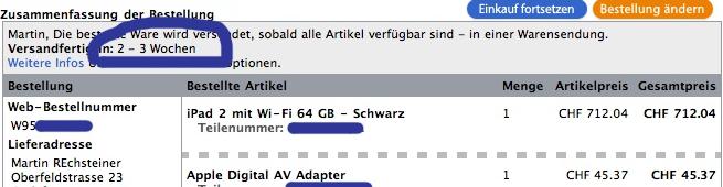iPad 2 Bestellstatus Schweiz