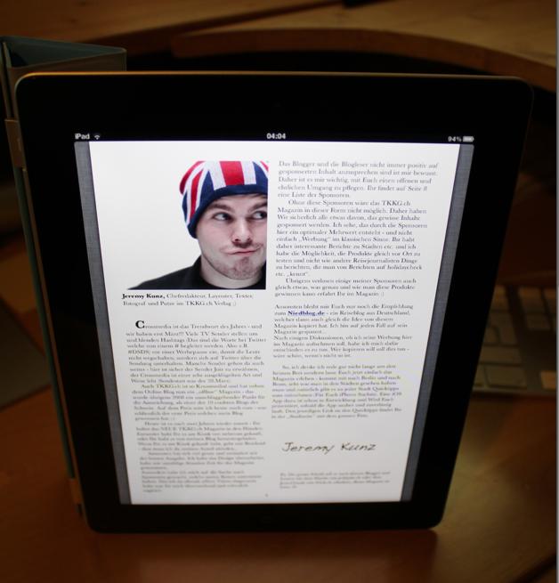 Perfekt geeignet für das Magazin ist natürlich ein iPad 2 :-)
