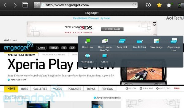 PlayBook - BlackBerry - RIM - Bildquelle Engadget.com