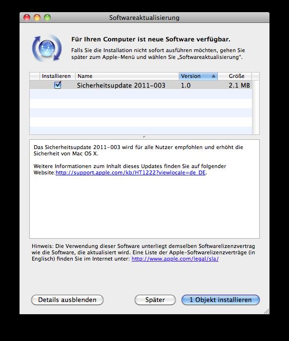 Sicherheitsupdate für Mac OS X 10.6