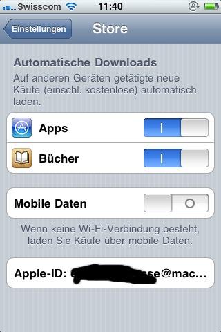 Automatische Downloads – iOS