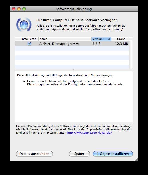 Update - AirPort-Dienstprogramm 5.5.3