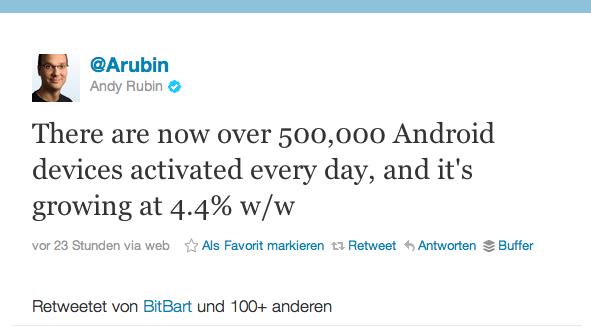 500'000 Aktivierungen von Android Geräten pro Tag