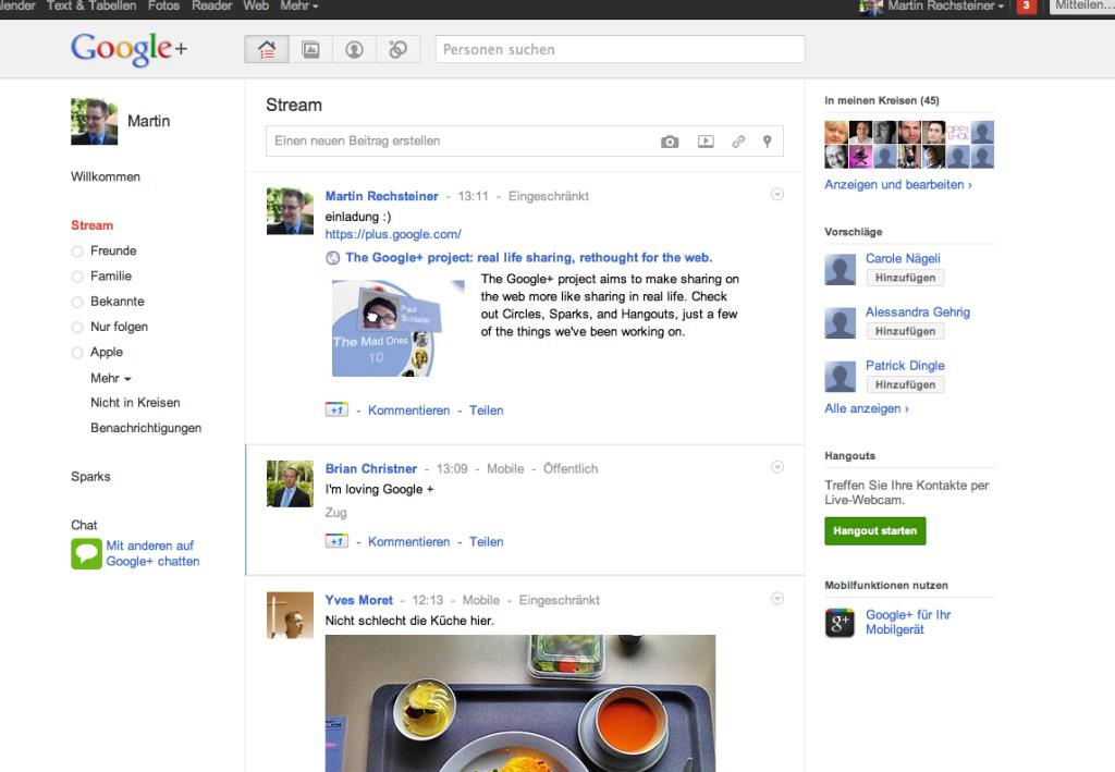 Google + - Stream