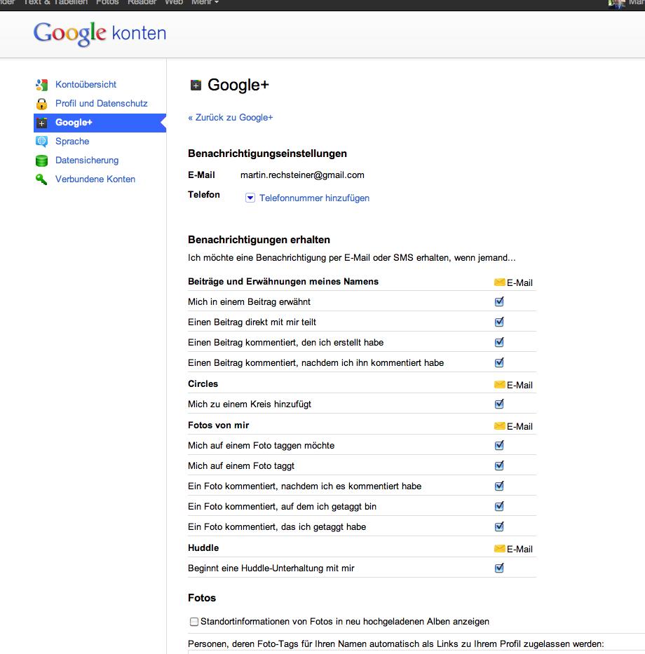 Google+ - Einstellungen