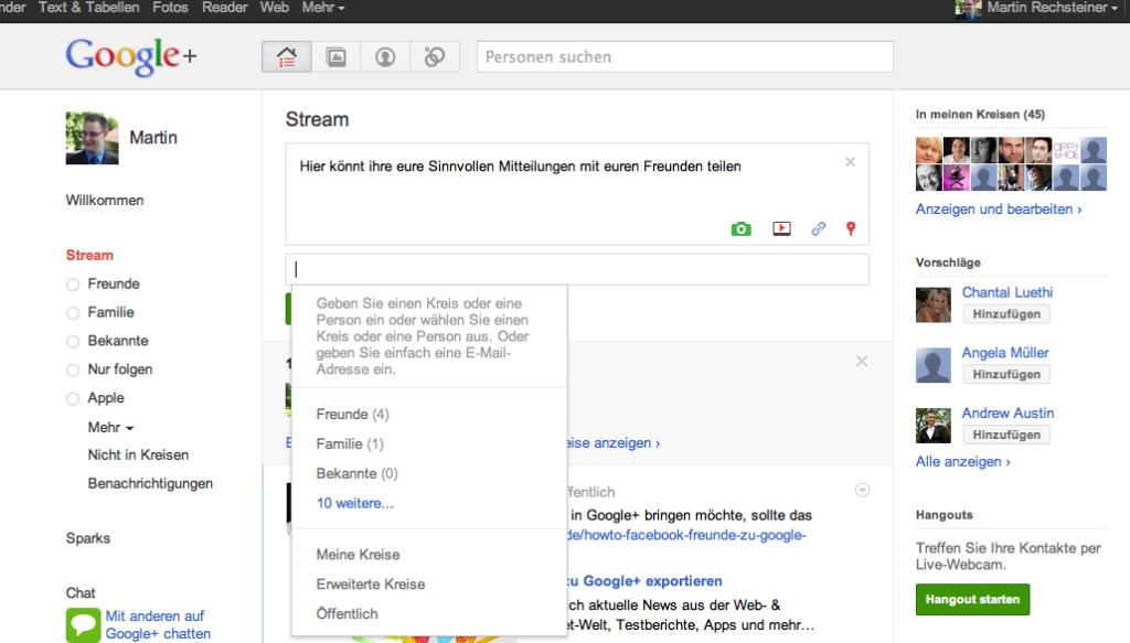Google+ - Status Updates