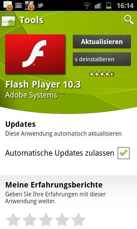 Android Market – Flash Upadate auf Version 10.3