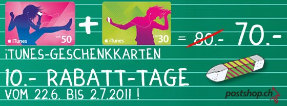 iTunes Rabatt Aktion – Post & MediaMarkt – Schweiz