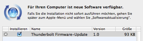 Mac – Update der Thunderbolt Firmware