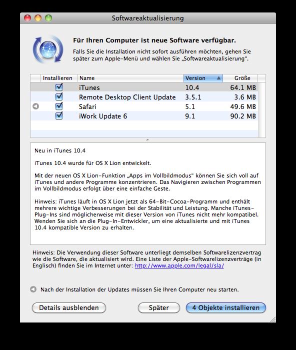 Mac – Update – iTunes – Remote Desktop – Safari – iWork