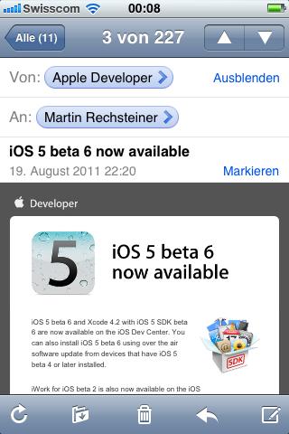 Nicht mehr lange geht es.... iOS 5 Beta Nr. 6