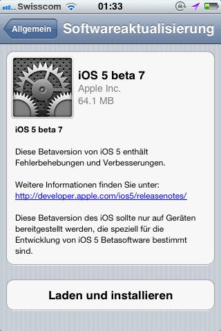iOS 5 beta – die siebte ist nun für Entwickler online