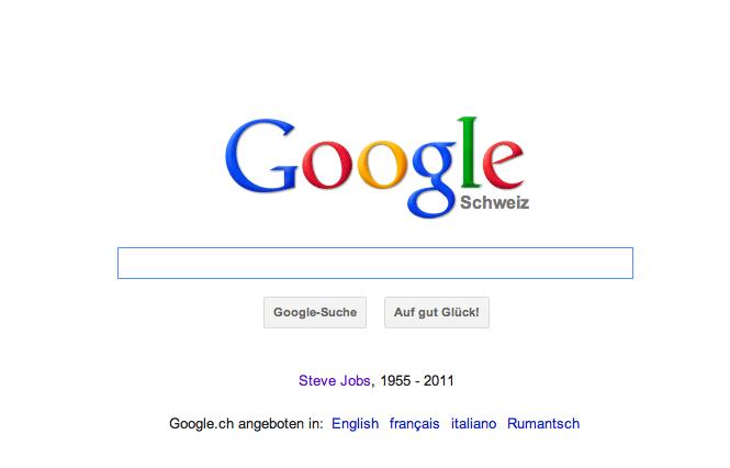 Sogar die Google Startseite wurde angepasst