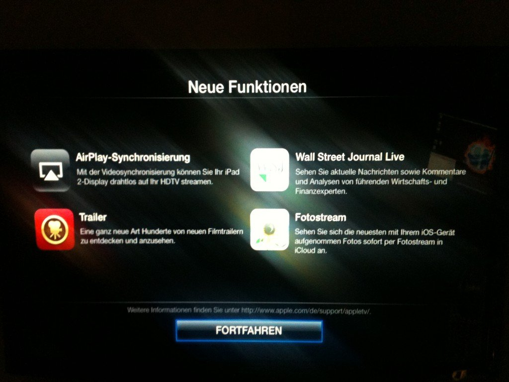 Apple TV Update auf iOS Version 5