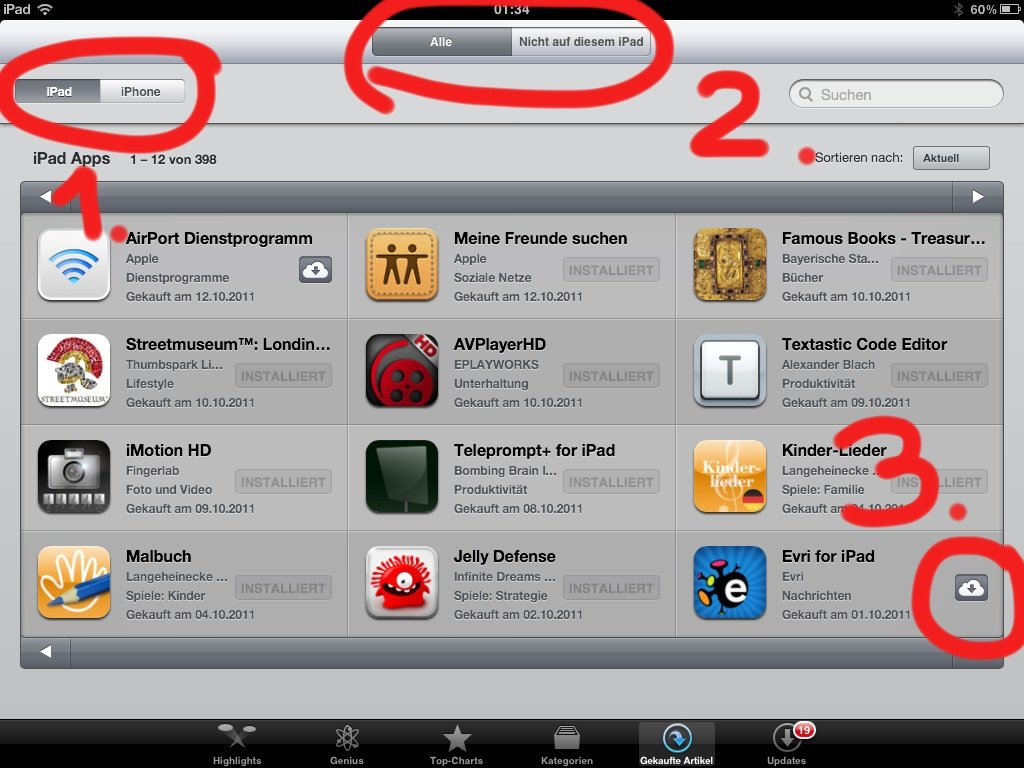iOS - Gekaufte Apps erneut laden