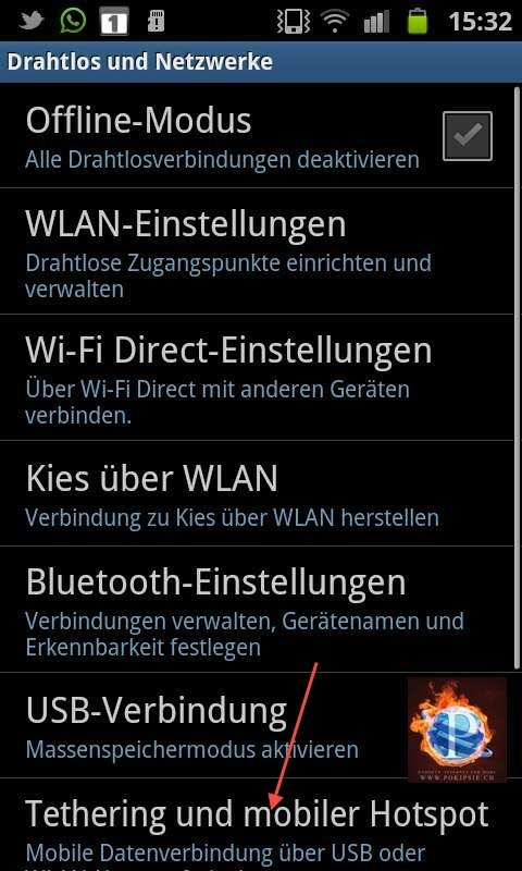 Thetering auf dem Android