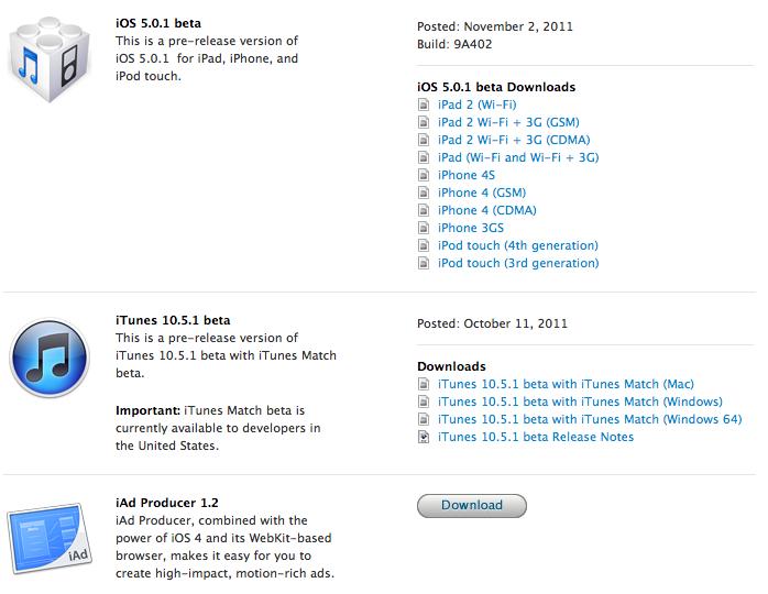 iOS 5.0.1 beta Developer bekommen erstes Update – Akkuhunger – Smart-Cover Lücke – Multitouch für iPad 1