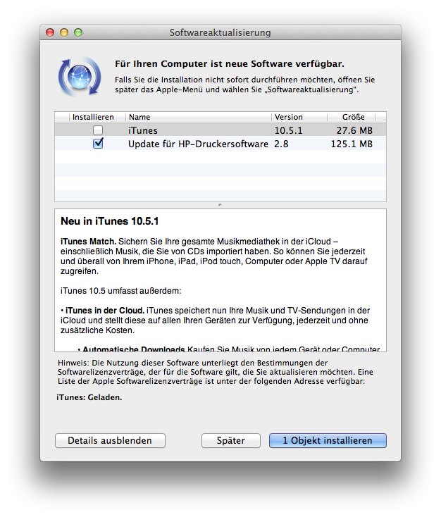 Update - iTunes Update auf 10.5.1