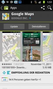 Google Maps App Update für Android