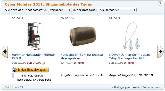 Cyber Monday - bei Amazon ganze drei Tage lang