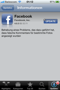Facebook App Update für iOS - behebt Kommentarproblem bei Bildern