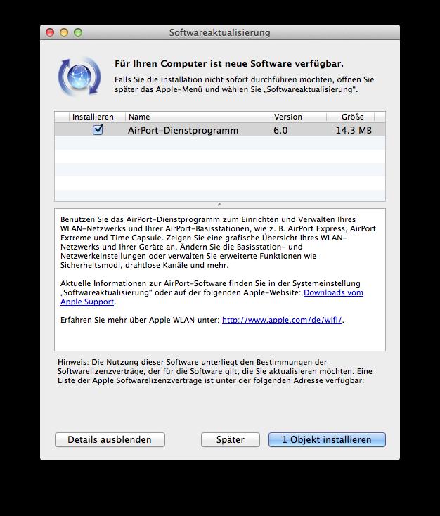 Update «AirPort-Dienstprogramm» Version 6.0