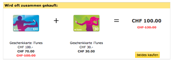 iTunes Karten im OnlineShop der CH-Post günstiger