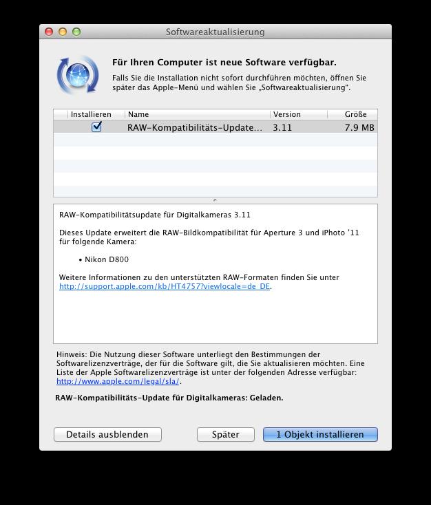 Mac Update - RAW Kompatibilität 3.11