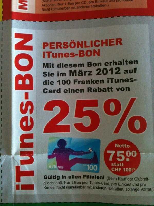 Schweiz: iTunes Karten Aktion im ExLibris