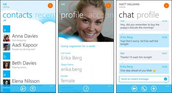 Skype App erreicht auf Windows Phone 7 Finale Version