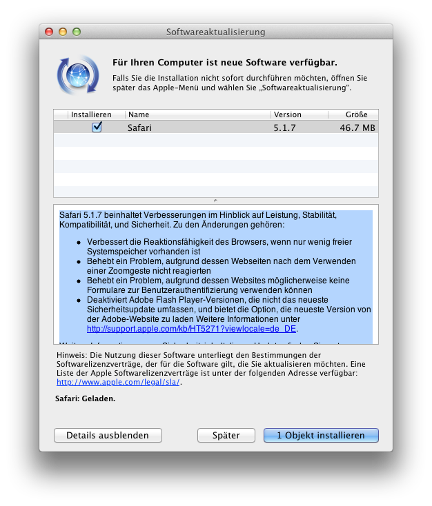 Update Safari Browser 5.1.7