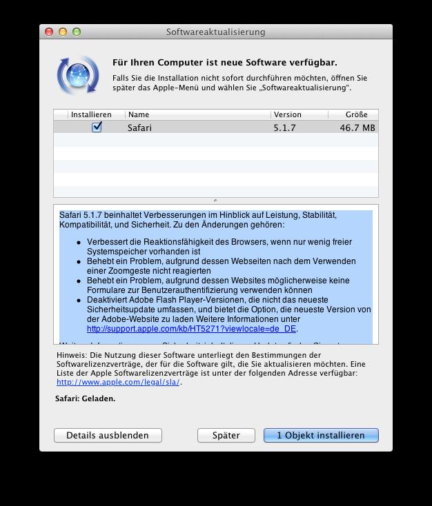 Update Safari Browser 5.1.7