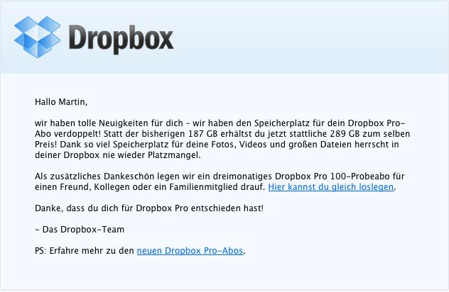 Dropbox Update Speicherplatz