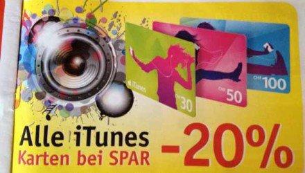 Schweiz - iTunes Karten Aktion bei Spar 20%