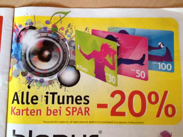 Schweiz – iTunes Karten Aktion bei Spar 20%
