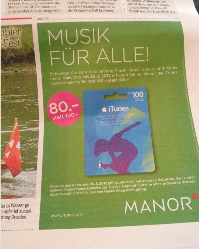 Schweiz – iTunes Karten Aktion – Manor