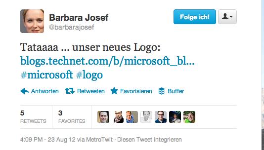Neues Micorosoft Logo - Tweet von @BarbaraJosef