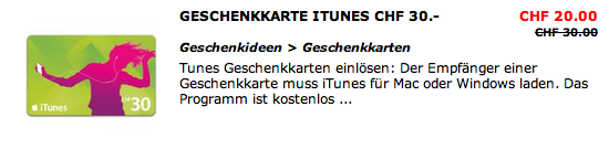 Schweiz – iTunes Karten Aktion – Post – MediaMarkt – Interdiscount
