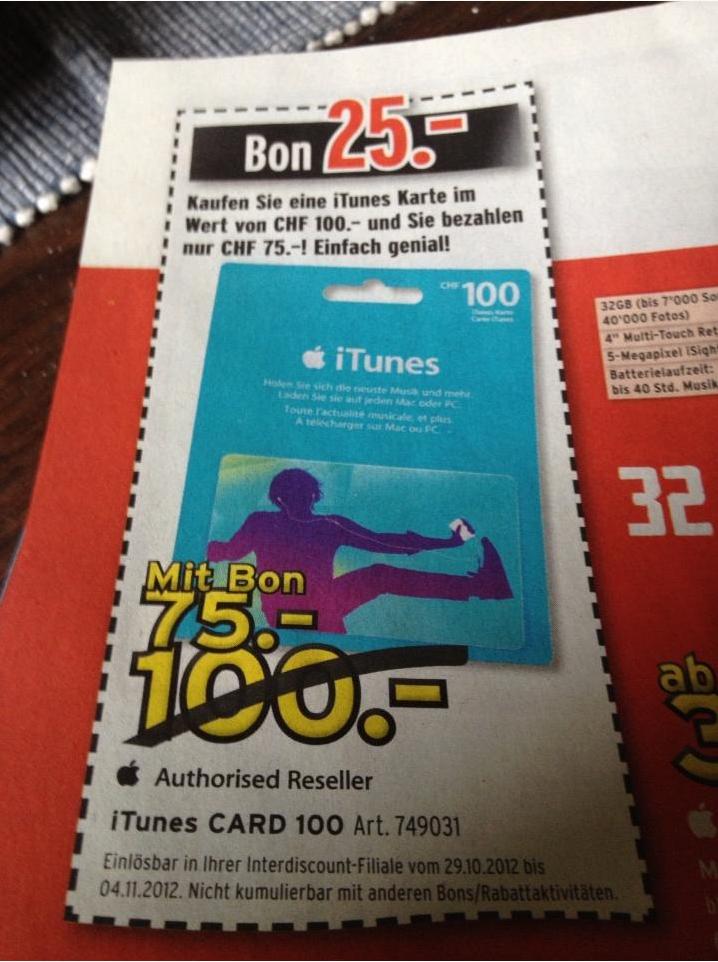 Schweiz «iTunes Aktion» CHF 50.- kaufen und kostenlose CHF 30.- bekommen