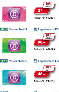 Schweiz – iTunes Aktion im Steg und bei der Post