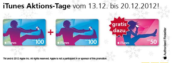 Schweiz – iTunes Gutschein CHF 50 Geschenkt