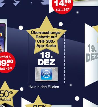 Schweiz – iTunes Karten kaufen und CHF 70.- sparen!