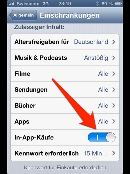 Tutorial – In-App Käufe deaktivieren