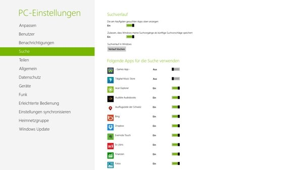 Tipp - Suchfunktion unter Windows 8