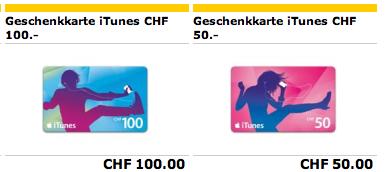 Schweiz - iTunes Karten bei der Post
