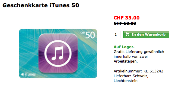 Schweiz – iTunes Karten Aktion